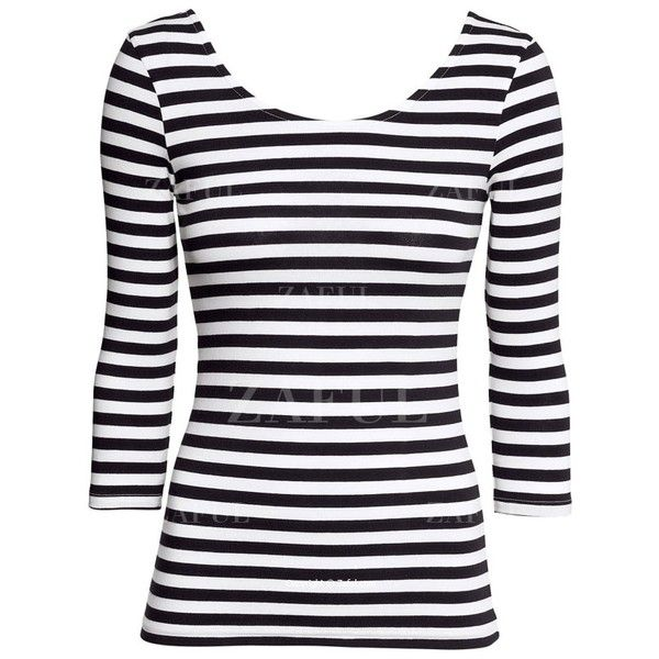 379d0275ae3 3 4 Sleeve Striped T-Shirt ( 16) ❤ liked on Polyvore featuring tops ...