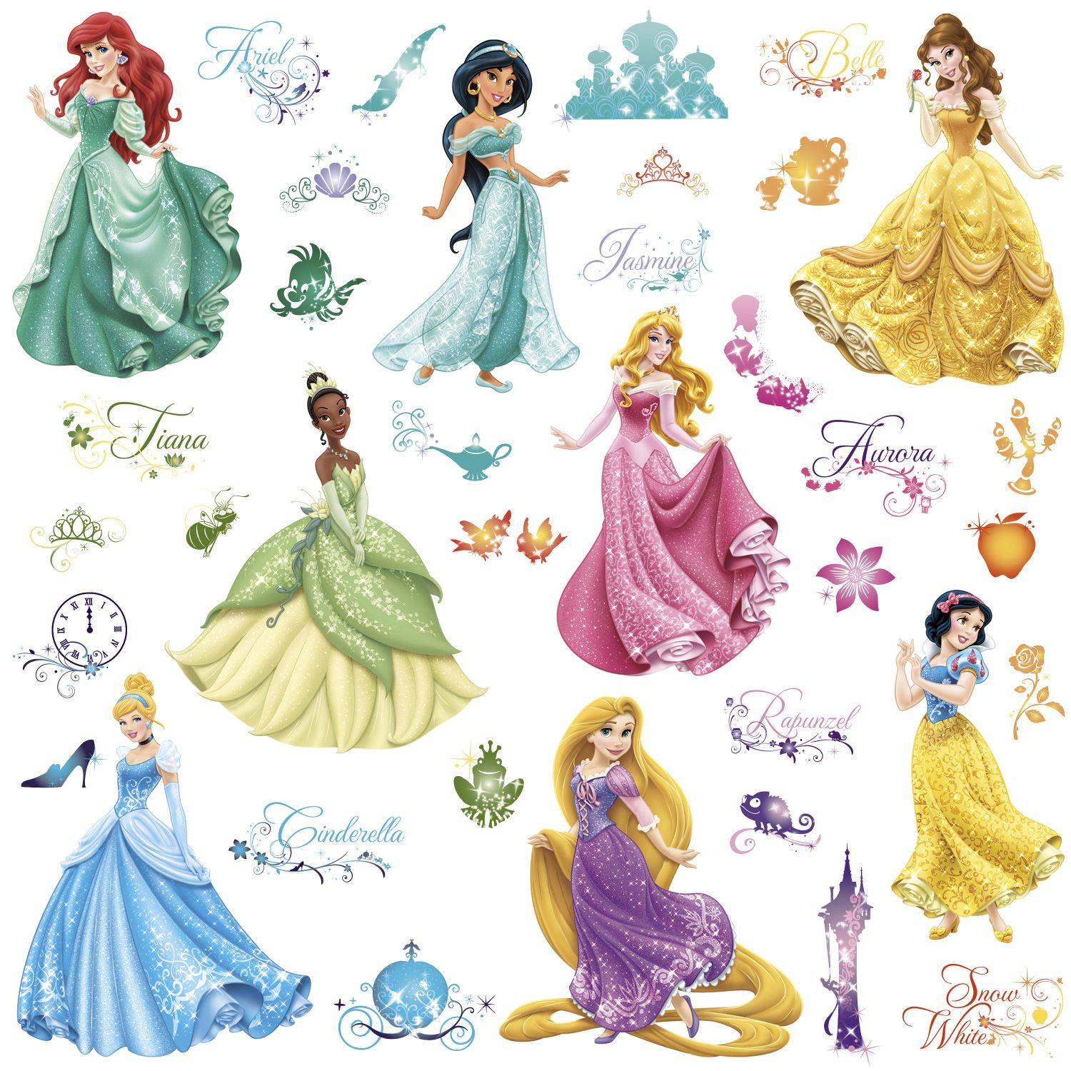 Celebrate royalty, enchantment, and romance with the Disney Princess characters. These beautiful Disney Princess wall decals feature Cinderella, Ariel, Tiana, Rapunzel, and more. The decals can be applied to any smooth surface, and safely removed and re-applied without any damage or residue. A perfect way to decorate your little princess's bedroom or play area!