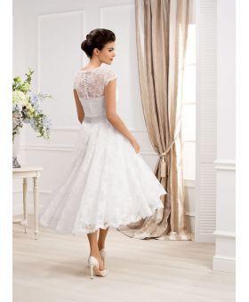 85c090a9b8 Vestito da Sposa Corto in pizzo con spalline di pizzo e cintura in ...