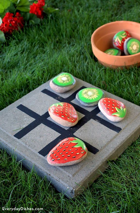 DIY TicTacToe Game Instructions is part of Diy garden party, Tic tac toe game, Diy garden, Crafts, Outdoor games, Tic tac toe - Paint and glass glaze turn rocks into an outdoor tictactoe game that's fun for the whole family