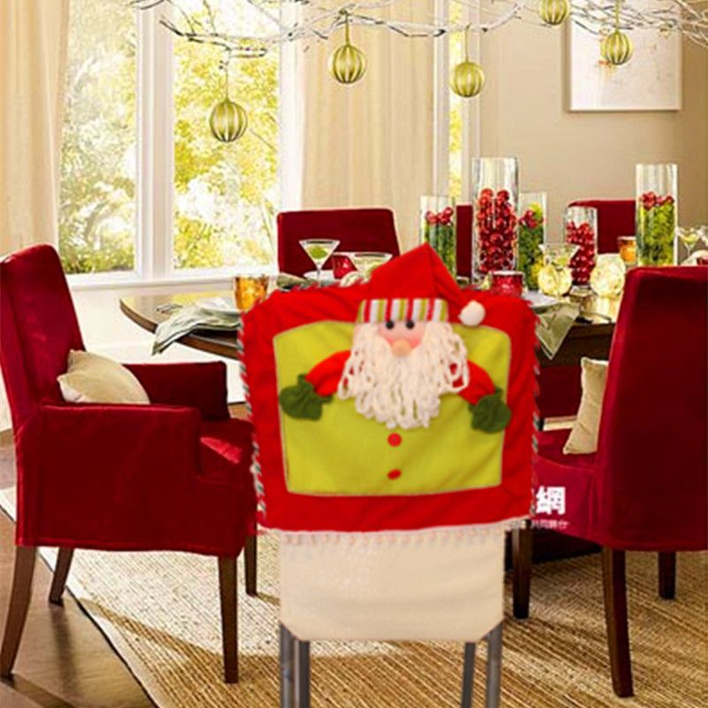 Wholesale And Retail Christmas Elk Santa Clause Snowman Chair Cover Decorations For Home Decor