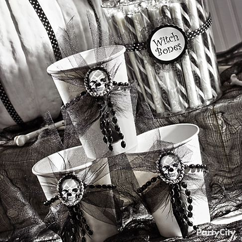 Add shocking style to white cups by stringing a rhinestone Halloween - adult halloween party decor