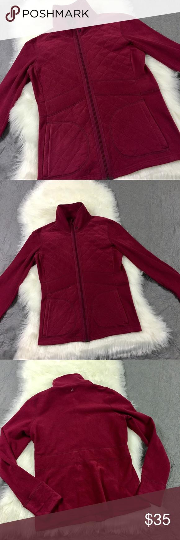 Quilted prana full zip fleece jacket meduim feminine cozy and nice