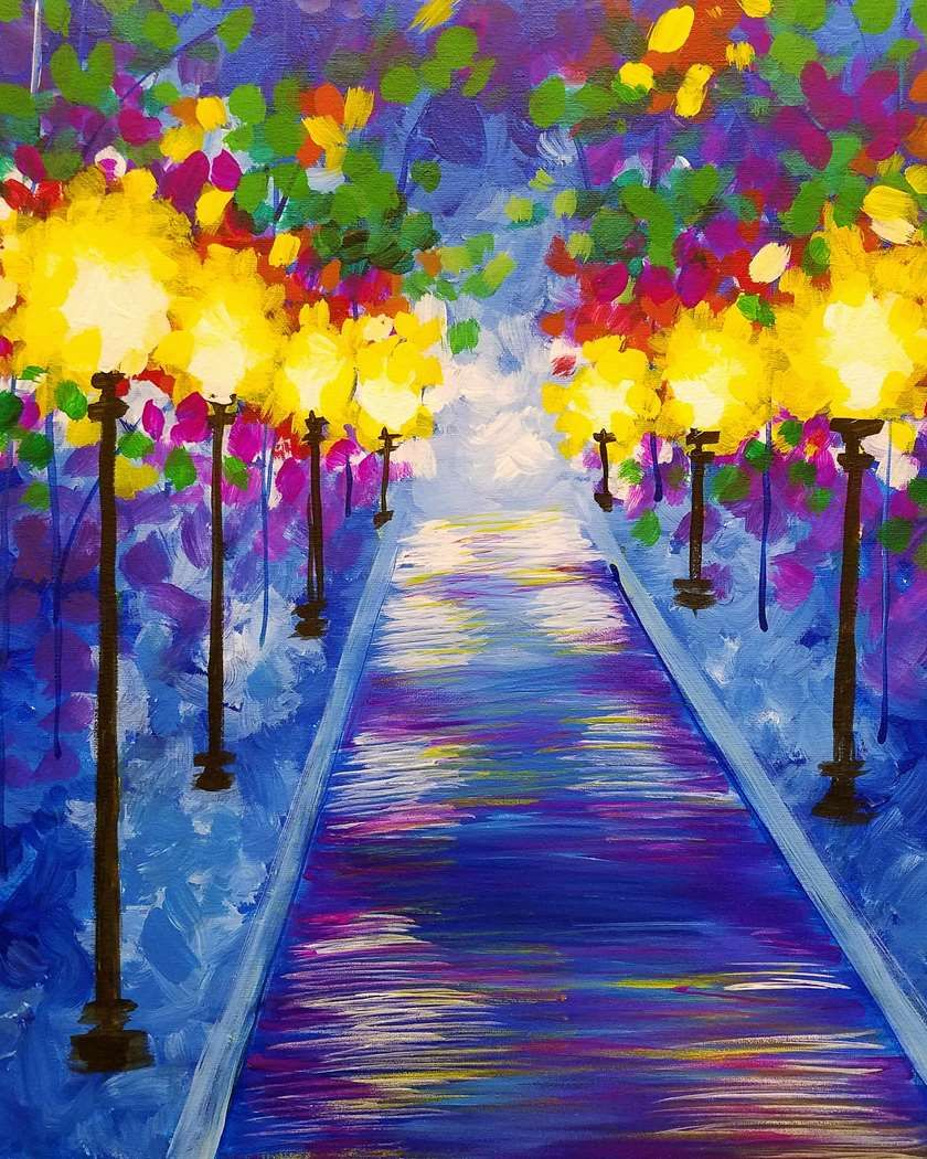 Rainy Pathway Pinots Palette Paintings Painting Paint And Sip