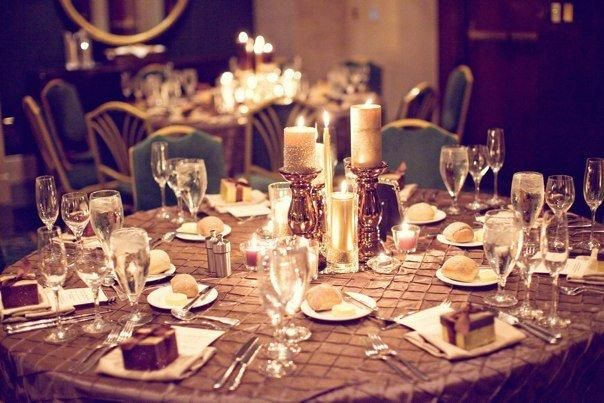 table centerpeices with candles and brown pintuck overlays