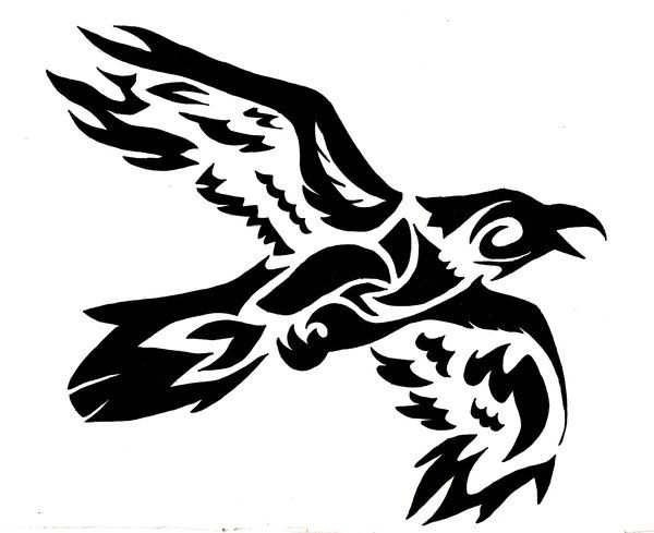 tribal flying crow commision by wolfsouled d4khvje crow tribal rh pinterest com tribal crow tattoo Celtic Crow Tattoo