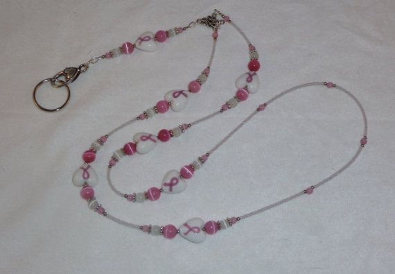 Pink & White Beaded Breast Cancer Awareness Lanyard  by Suzyq203, $20.00
