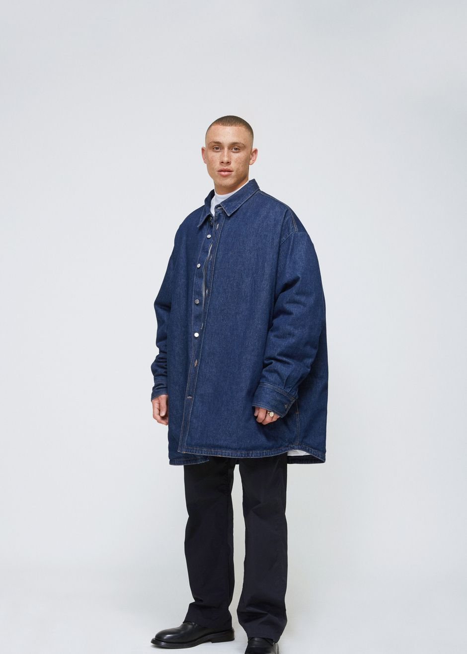 924d7a1186255 Raf Simons Padded Denim Shirt Coat (Dark Navy)