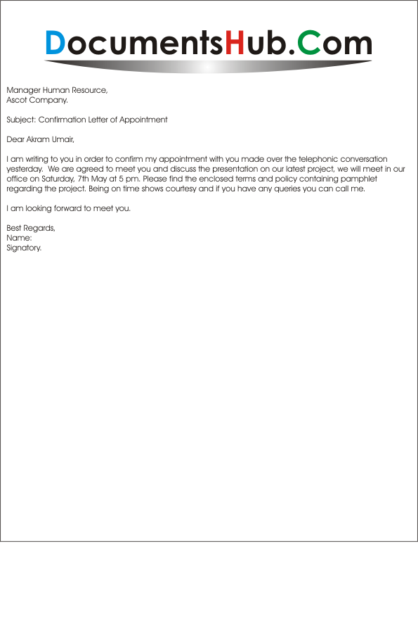 Meeting Confirmation Letter Format Sample Appointment Download