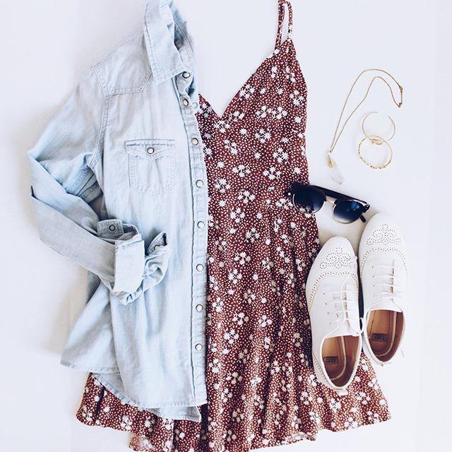 "♡ Bradi on Instagram: ""💙 { dress: @showpo • Jean shirt: @americaneagle • shoes: @zara • sunnies: @eyebuydirect • necklace: @sticksnselfies • bracelets:…"" 1"