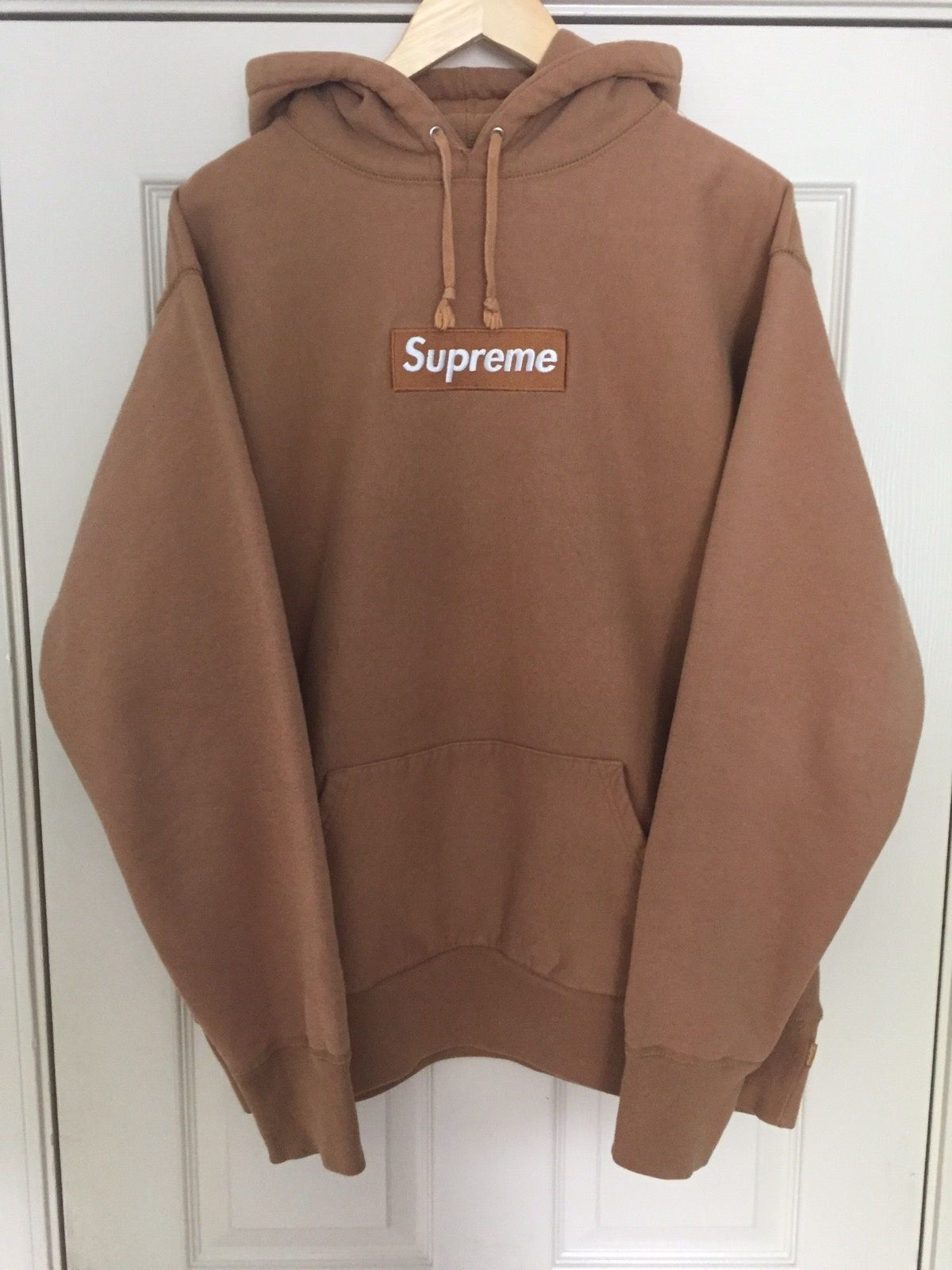 a1c53ccedba6 Buy Supreme Khaki Box Logo Hoodie Bogo
