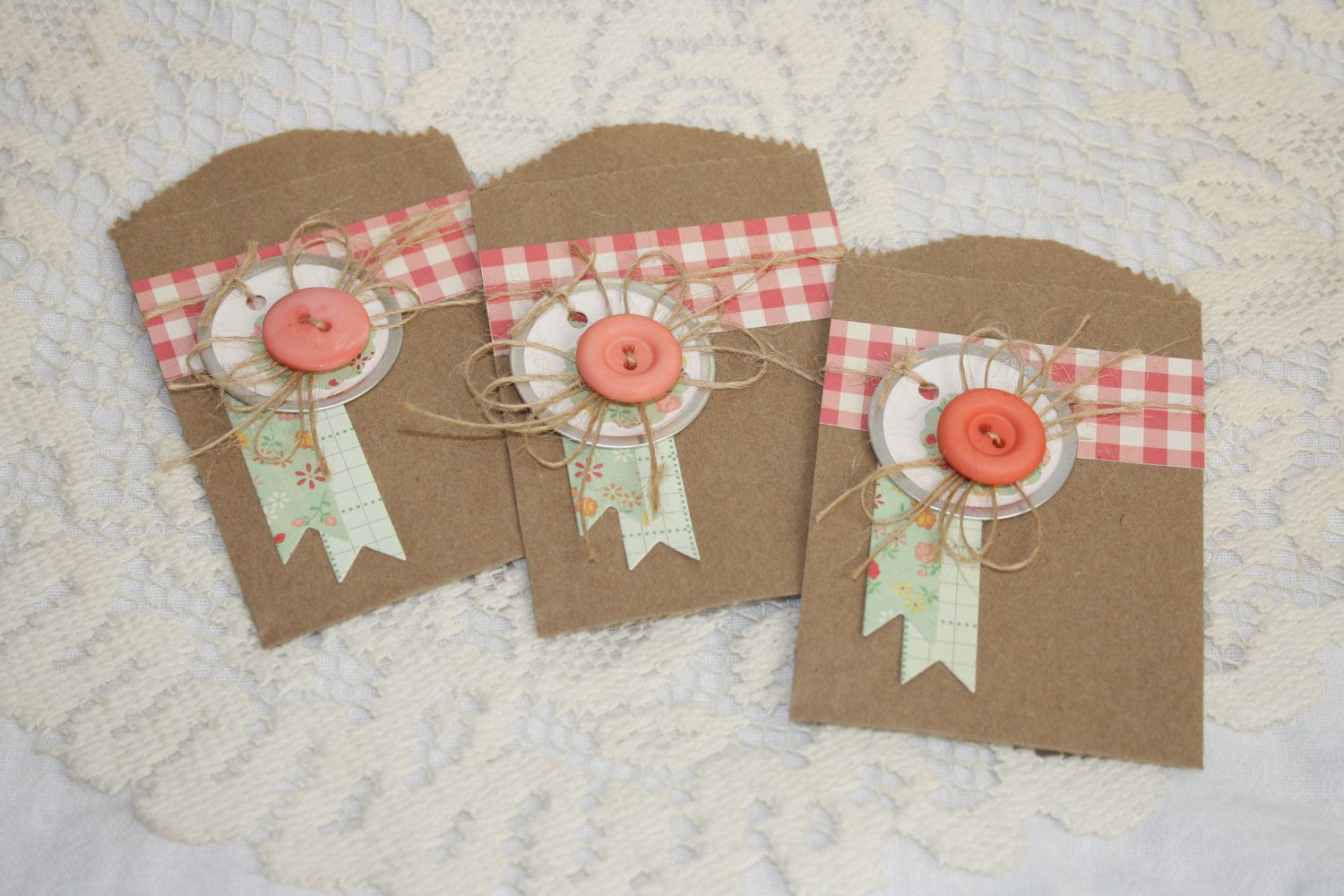 Handmade All Occasion Embellished Paper Gift Bags - Set of 3