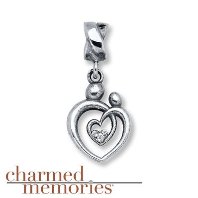 KAY JEWELERS CHARMED MEMORIES PINK MOTHER /& CHILD SWAROVSKI STERLING SILVER