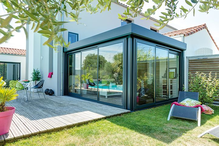 Finition 01011 - 4,8 m x 3 m. Couleur gris anthracite - Toiture Thermo 32. | Veranda ...