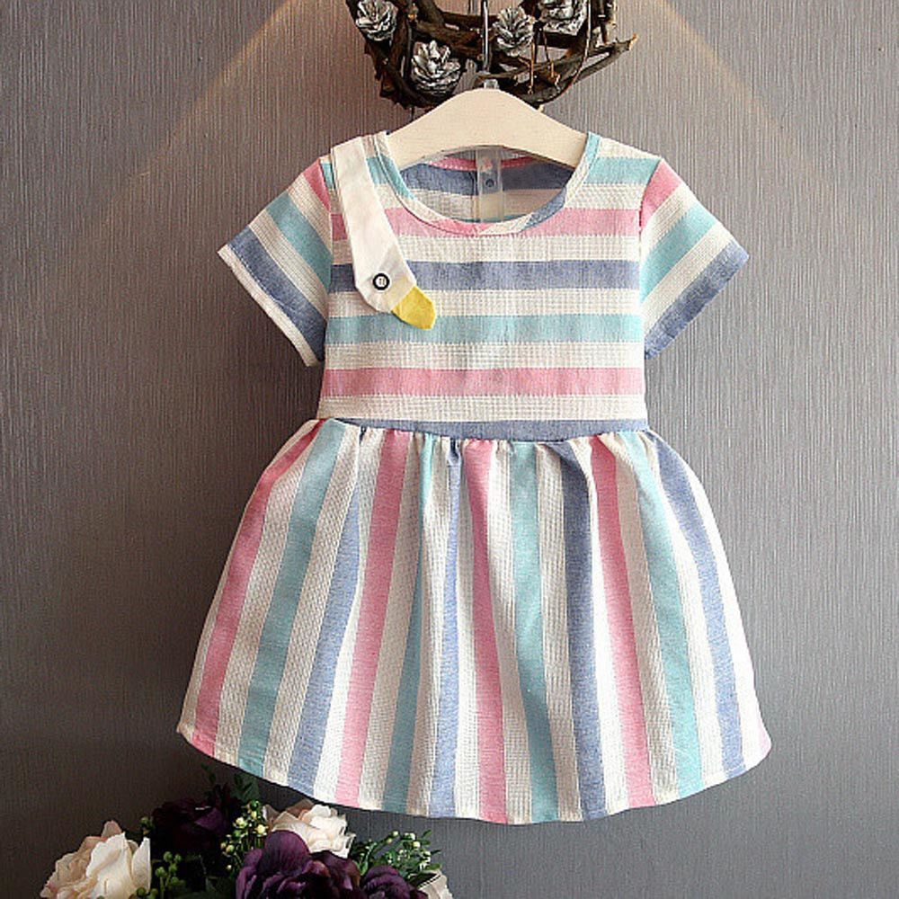 UK Toddler Kid Baby Girl Princess Clothes Short Sleeve Dress Tutu Skirt Sundress