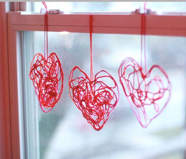 Aunt Peaches: Yarn Hearts Hermosos corazones de lana para decorar.