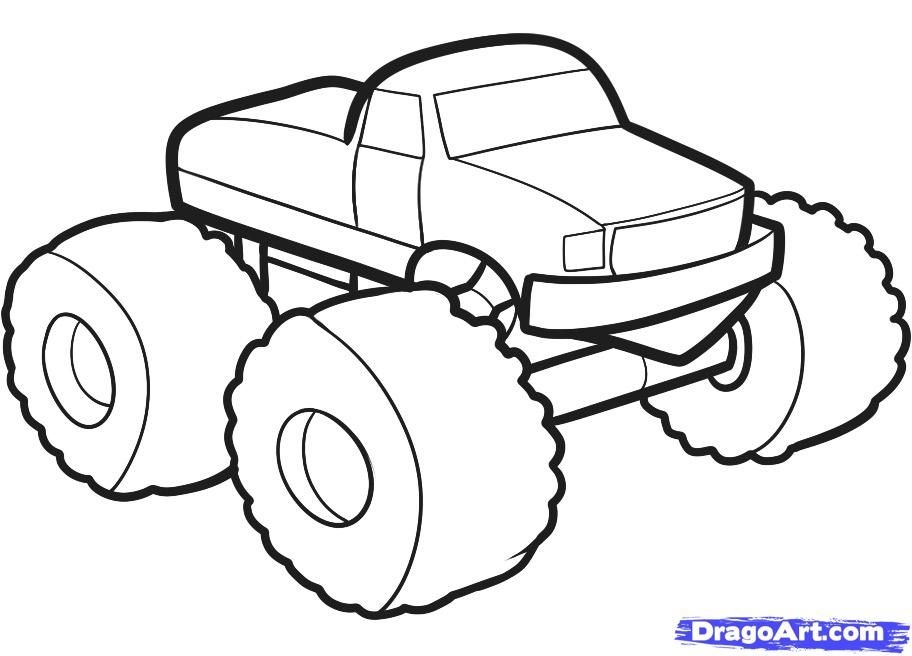 How To Draw A Monster Truck For Kids Step By Step Cars For Kids For Kids Free Online Draw Monster Truck Drawing Monster Truck Coloring Pages Monster Trucks
