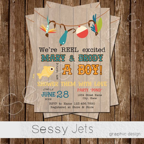 We 39 re reel excited baby shower invitation fishing baby for Fishing baby shower invitations