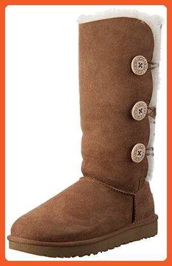 1e7e9982f27 UGG Women's Bailey Button Triplet II Winter Boot, Chestnut, 8 B US ...