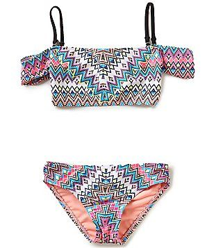 91ae21c762 Heart And Harmony Big Girls 7-16 Leggo My Deco Print Off-The-Shoulder Two-Piece  Swimsuit