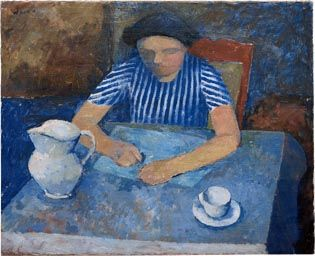 William Scott, Girl and Blue Table, 1938, Oil on canvas, 65.9 × 81 cm / 26 × 32 in, Leicestershire County Council Artworks Collection