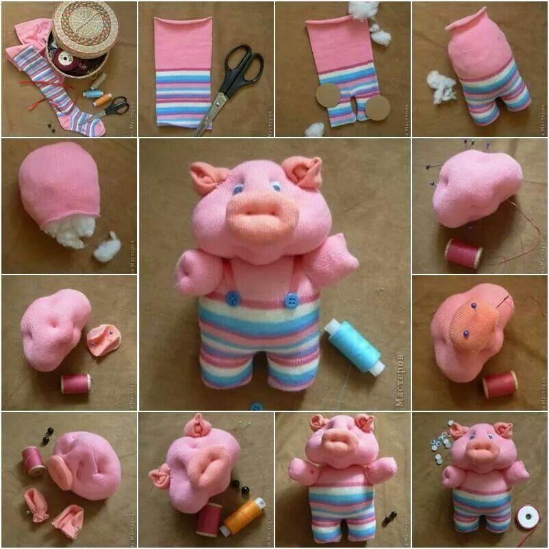 Cerdito hecho con una calceta.  Tutorial: http://www.icreativeideas.com/how-to-diy-cute-sock-piglet/