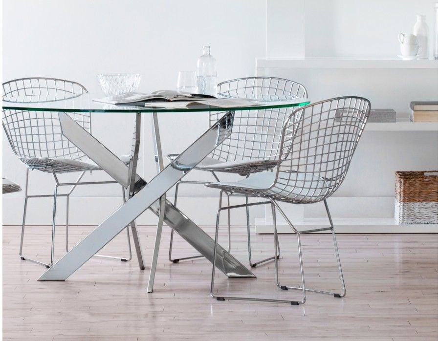 Ibiza Round Gl And Chrome Dining Table 55