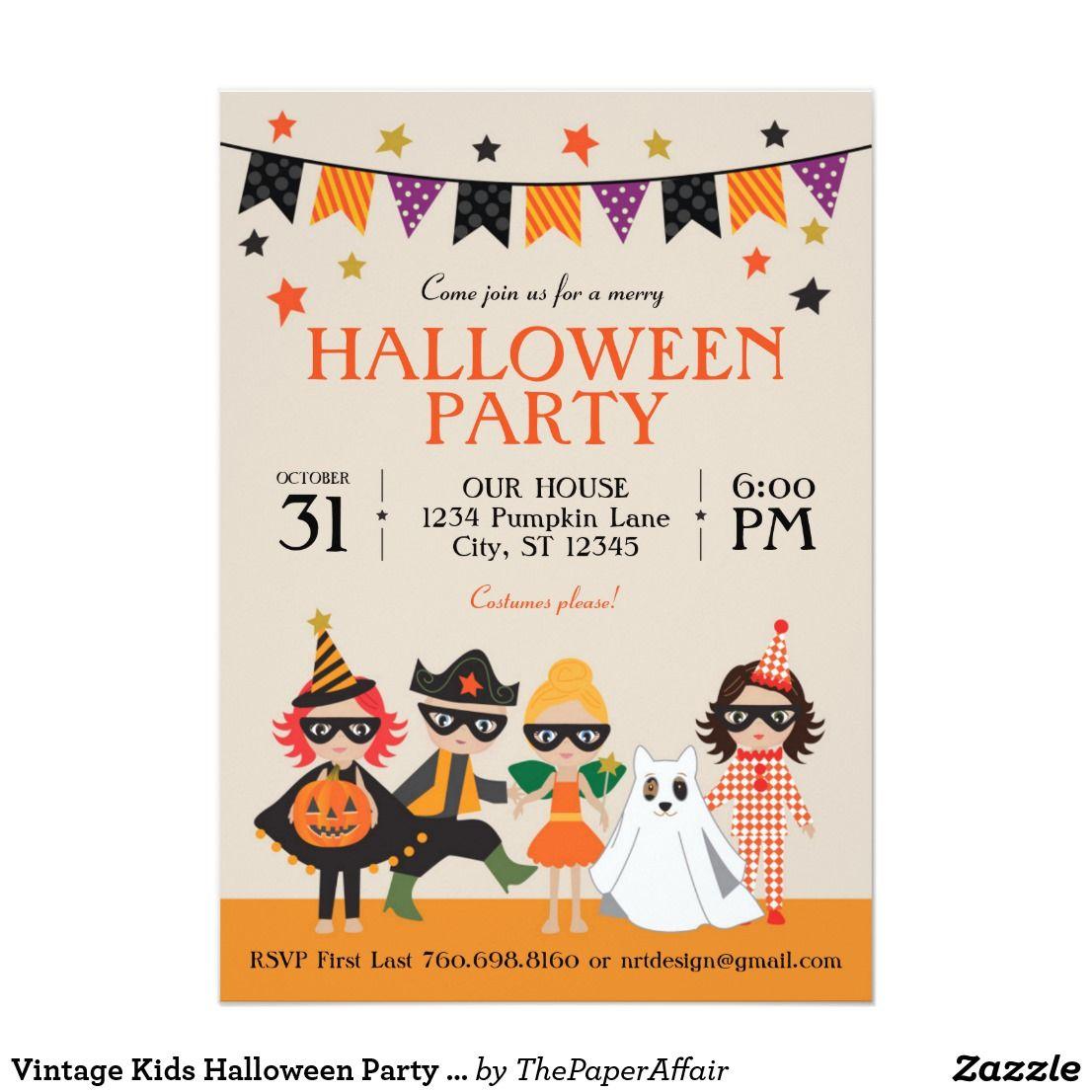 Vintage Kids Halloween Party Invitation | Children | Pinterest ...
