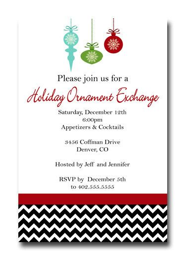 Ornament Gift Cookie Exchange Christmas Invitation By