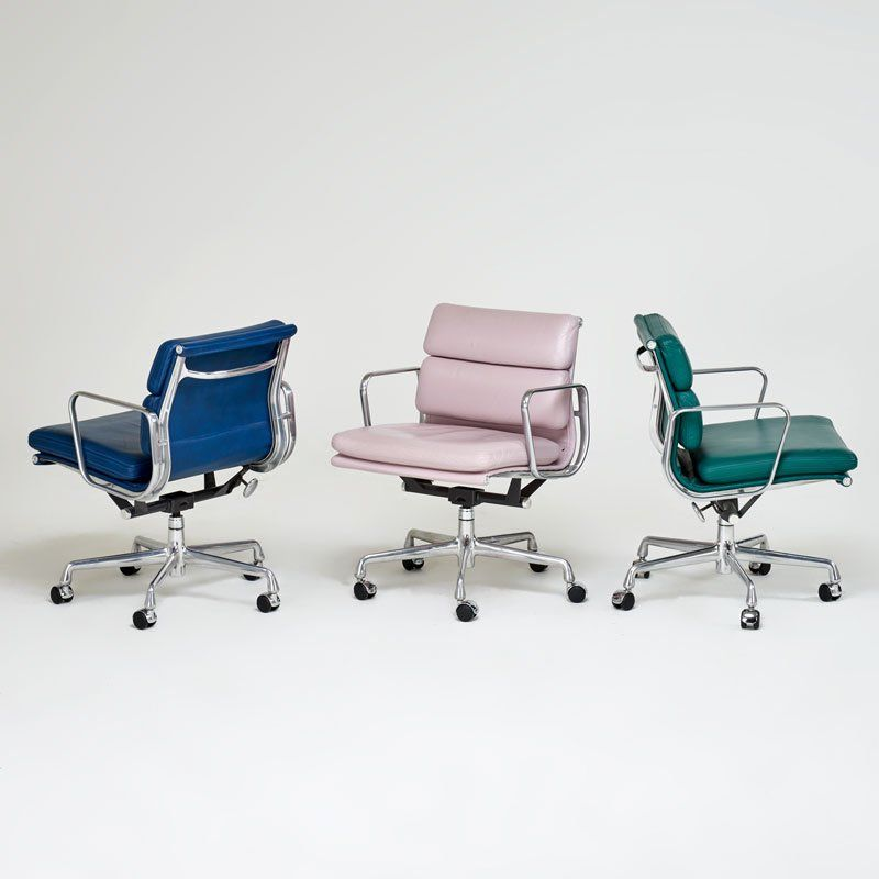 Charles And Ray Eames Herman Miller Eames Soft Pad Chairs In Three Different Colors Accent Chairs For Sale Restoration Hardware Chair Blue Chairs Living Room