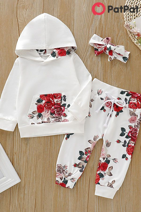 3-piece Baby Girl Beautiful Floral Hoodie and Pants with Headband Set #babykidclothesandideas