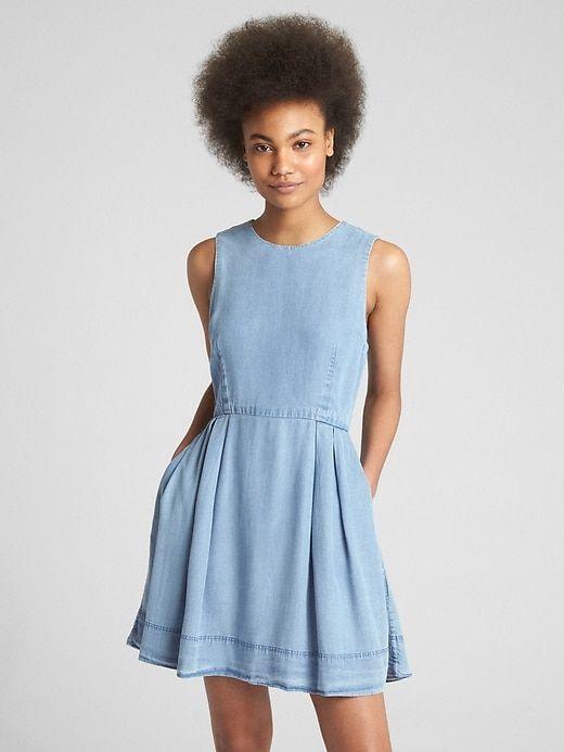 313c702c033b Gap Womens Fit And Flare Dress In Tencel™ Medium Indigo