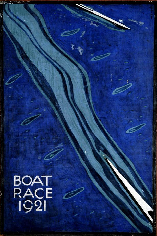 Decorative Art. 1979 Man swimming in blue water forming square vintage Poster