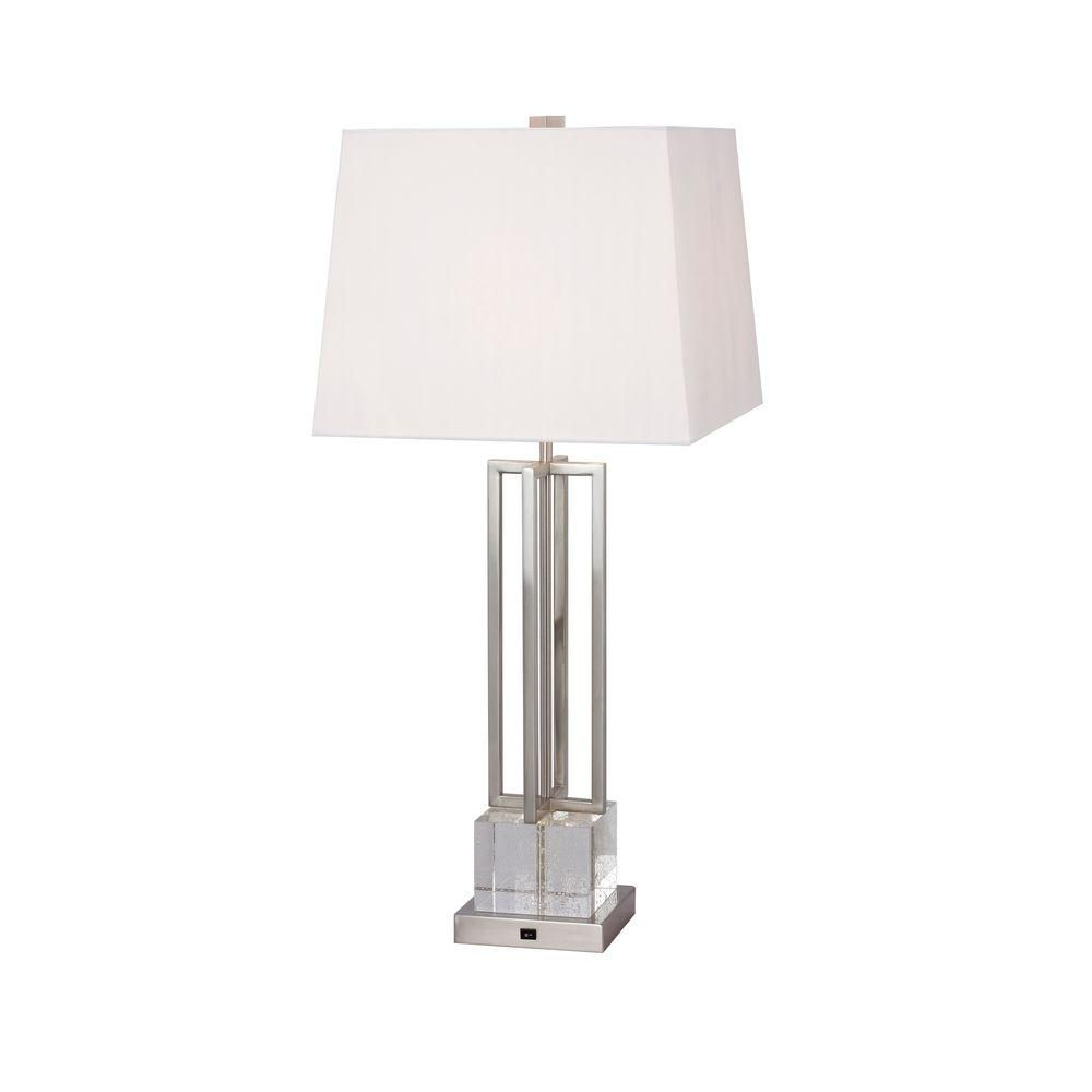 Fangio Lighting 30 In Crystal And Brushed Steel Metal Table Lamp With Led Night Light W 1514bs The Home Depot Metal Table Lamps Lamp Table Lamp
