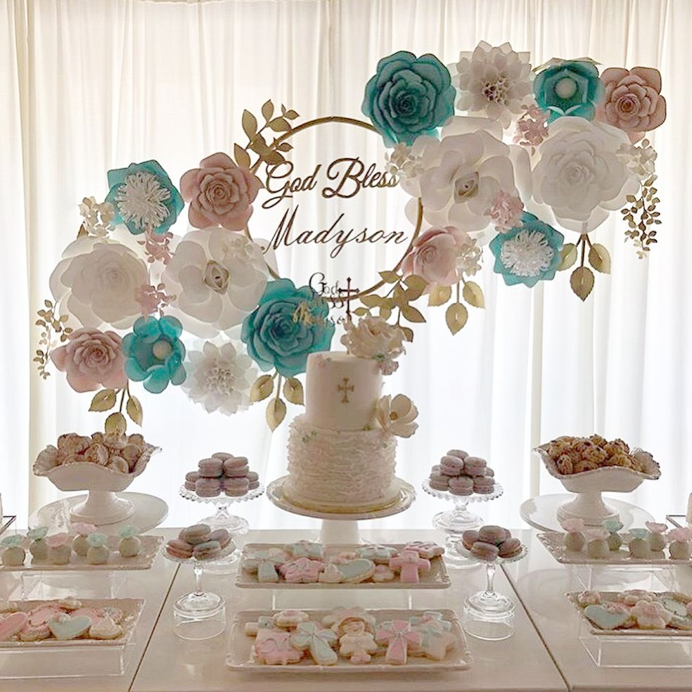 First Communion Paper Flower Backdrop Decor First