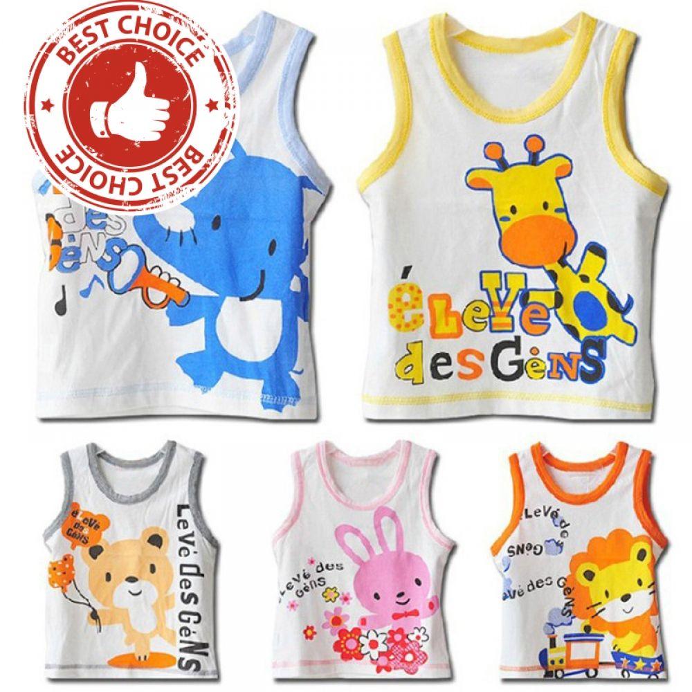 2a899dc2d 1-3 years Baby Boys Girls kids Cartoon Pattern Sleeveless Vest T ...