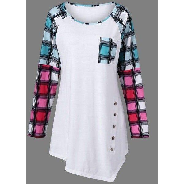 b5bdcfa270175 Plaid Raglan Sleeve Plus Size Tee ❤ liked on Polyvore featuring tops