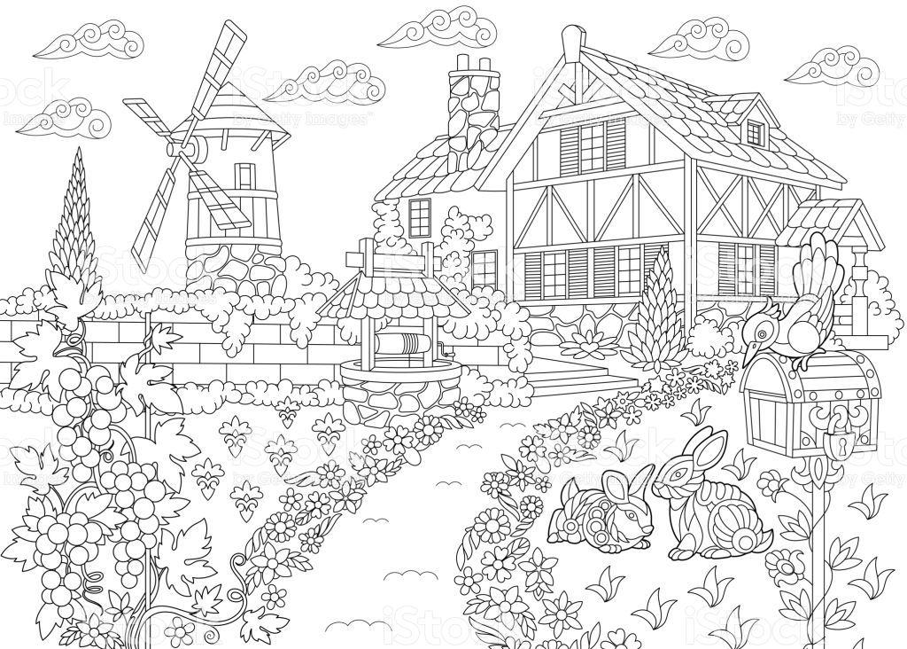 Rural Landscape With Farm House Windmill Water Well Mailbox Malvorlagen Windmuhle Landschaft