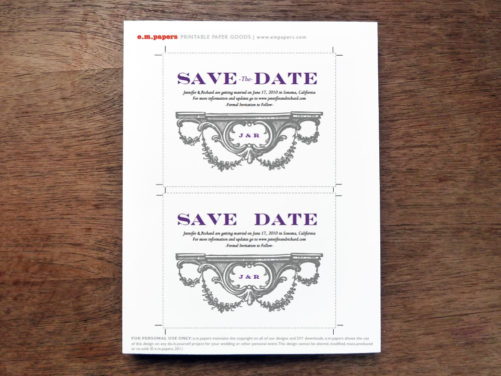 Printable Save The Date Pdf Template  Wedding Invitations
