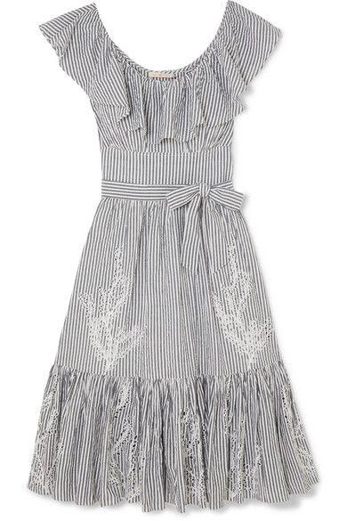 a6dd252764e Tory Burch - Ruffled Striped Broderie Anglaise Cotton-seersucker Dress -  Blue