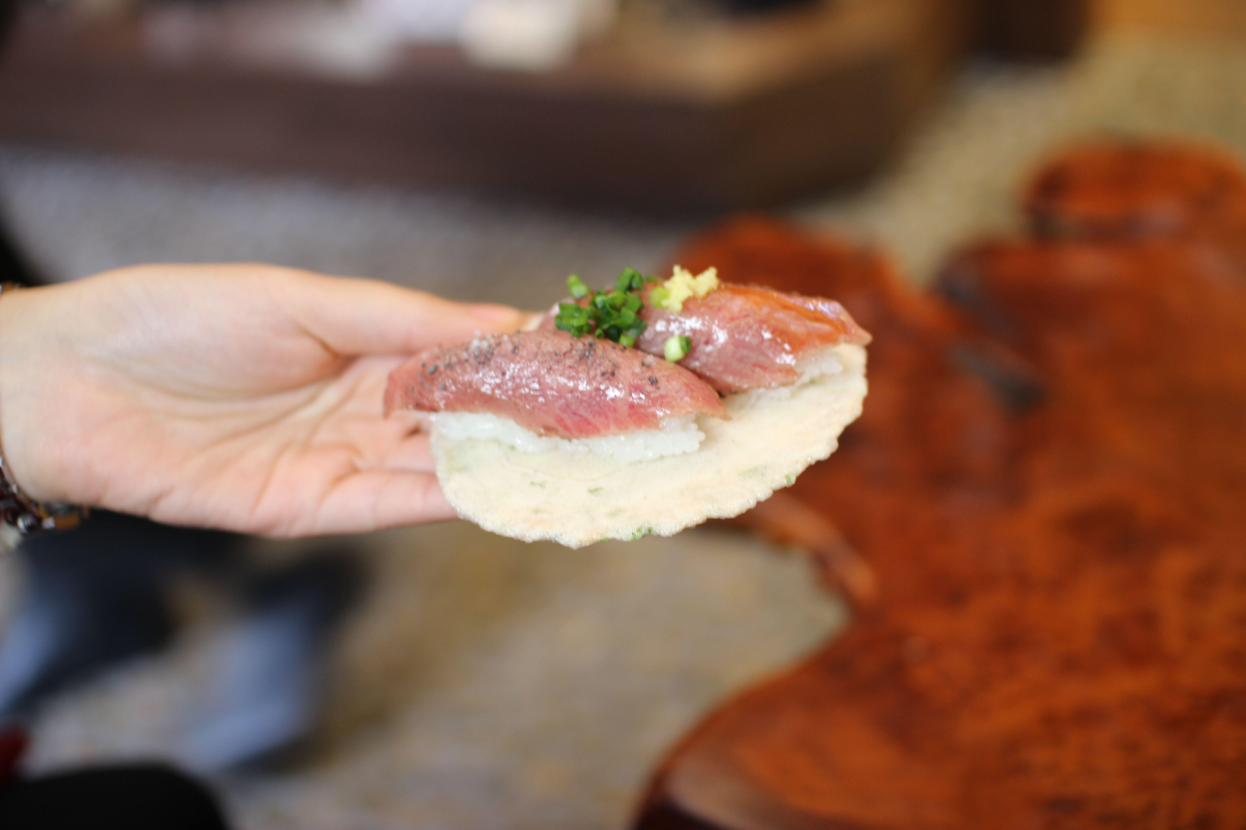 Sushi of beef. 300yen/1pcs.