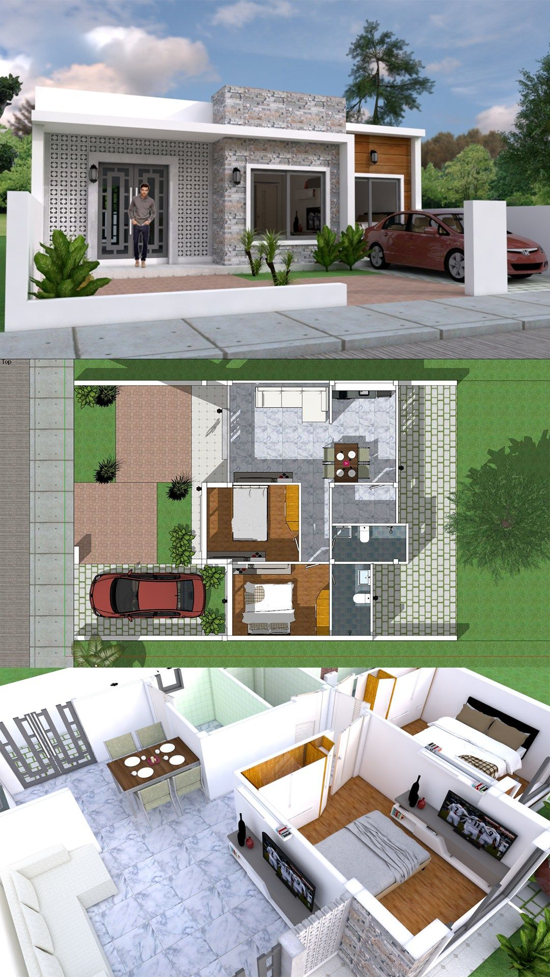 Simple Home Design Plan 10x8m With 2 Bedrooms Samphoas Plansearch Modern House Plans Simple House Simple House Design
