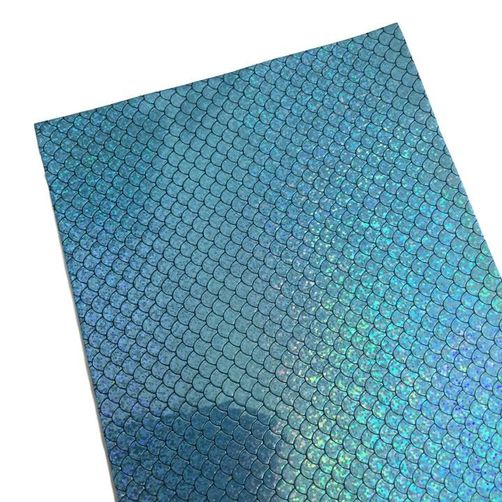 Blue Iridescent Mermaid Scales Vinyl Fabric Sheet Craftyrific In 2020 Vinyl Fabric Leather Diy Leather Sheets