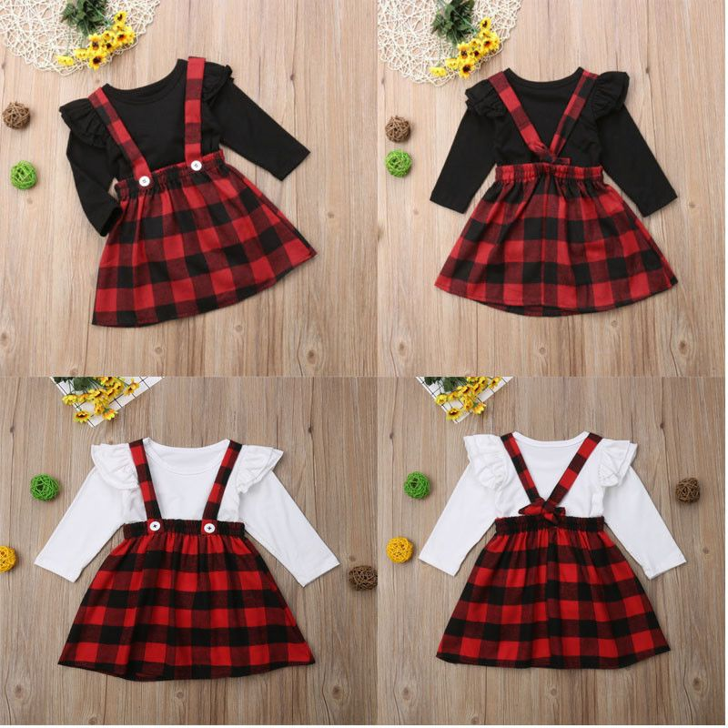 Christmas Newborn Kids Baby Girls Plaid Skirt Dress Outfits Set Clothes UK Stock
