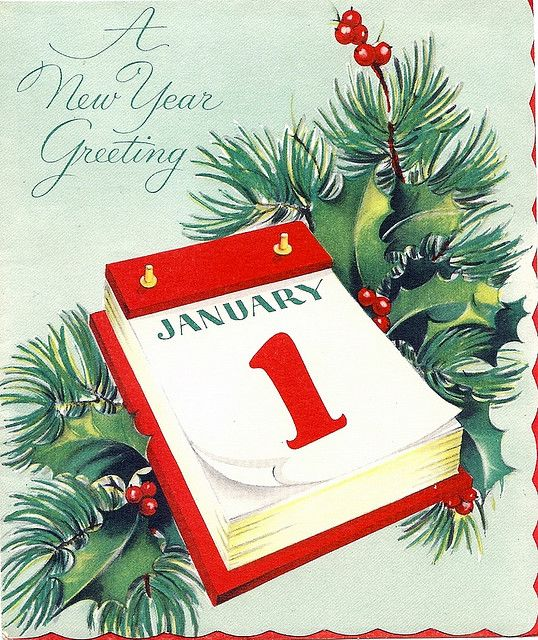 50 S Vintage New Year S Card Vintage Holiday Cards Vintage Happy New Year Vintage Greeting Cards