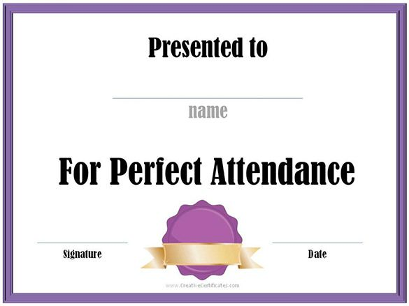 attendance certificate templates 12 free word pdf formats