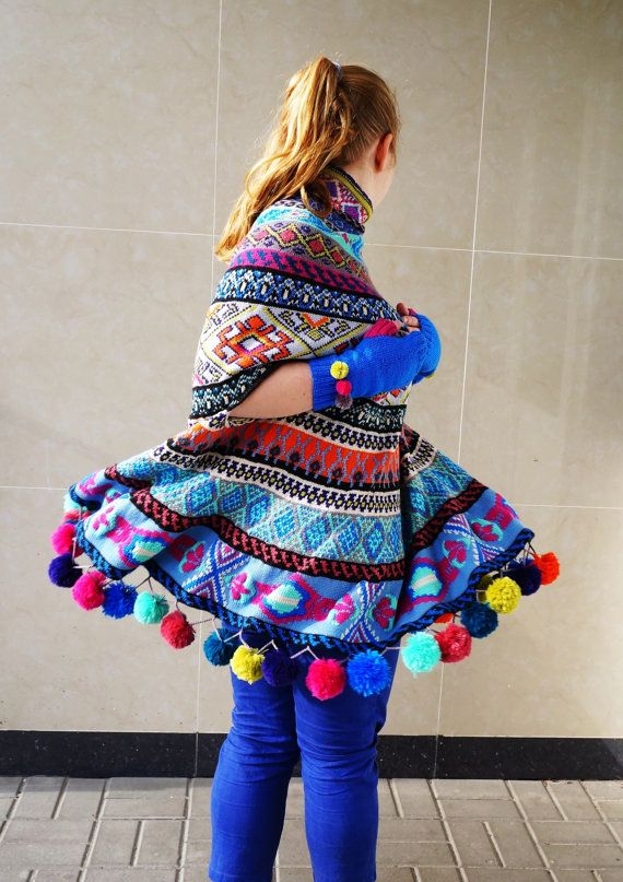 Fair isle knit sweater poncho.Slits for hands door Siaaccessorize ...