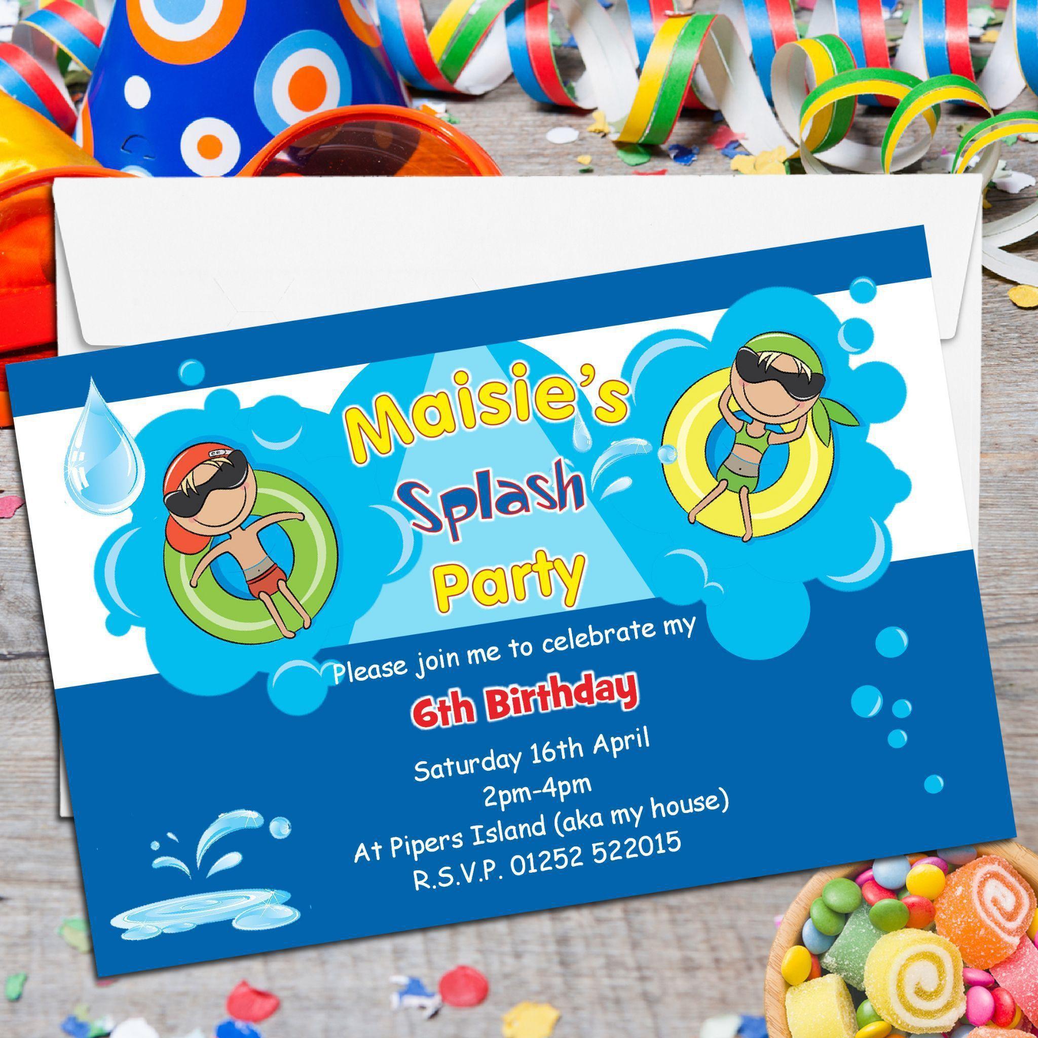 Einladungskarten Schwimmbad Party Einladung Kindergeburtstag Geburtstagseinladungen Zum Ausdrucken Elegante Einladungen