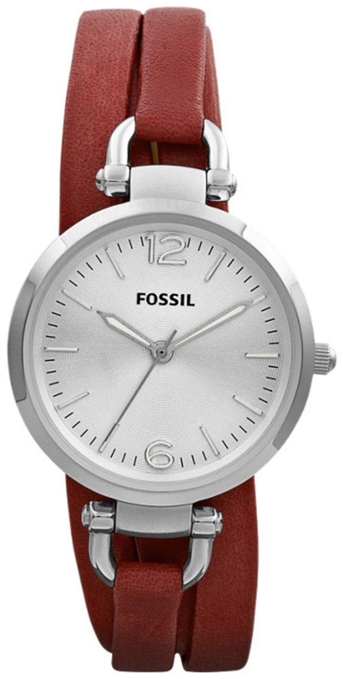 Fossil Watch Georgia Three Hand Leather Brick Red Perfect Boyfriend Es4093 Blue Navy Es3157