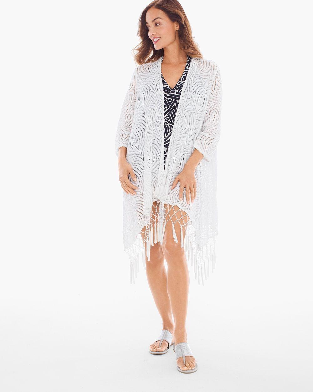 ff4ce22acb Chico's Women's Amita Naithani Tassel Fringe Swim Cover-up Kimono, White,  Size: XL
